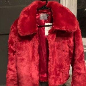 ASOS brand bright pink faux fur jacket